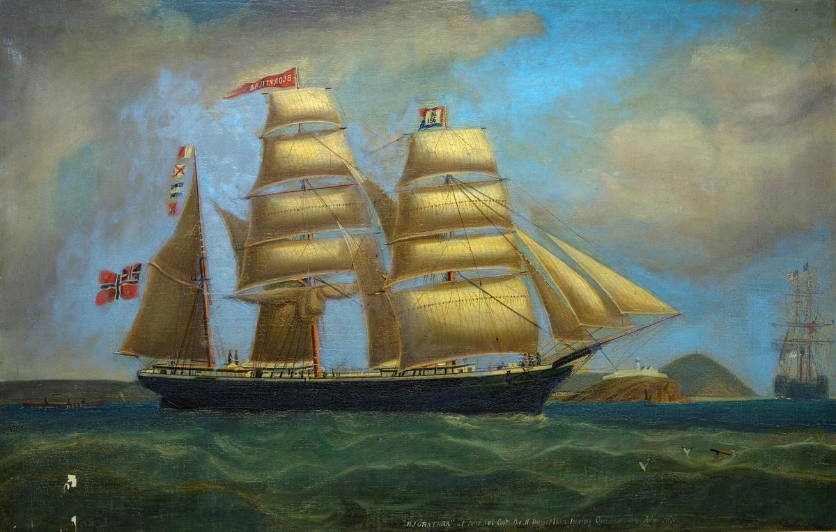 "Bark ""Biørntraal"" af Arendal,  Capt. Ole N. Danielsen. 1871. For fulle seil mot høyre. Sort skrog, unionsflagg,  blå/rødt flagg m. N. 166, rød vimpel m. skipets navn i hvitt. Sleper en liten båt, brunmalt,   HELPER  malt m. store bokstaver på siden, 3 mann ombord.  Klipper m. festning eller fyrtårn, og stor hjuldamper i bakgr. t. h."