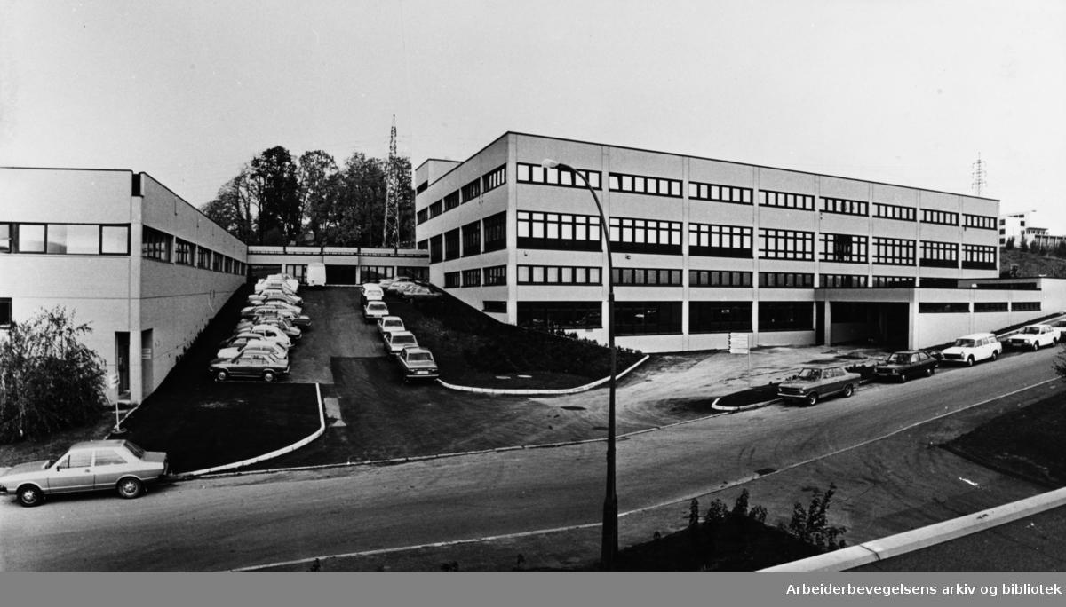Apotekernes Fælleskjøps nybygg på Bredtvet. Oktober 1979