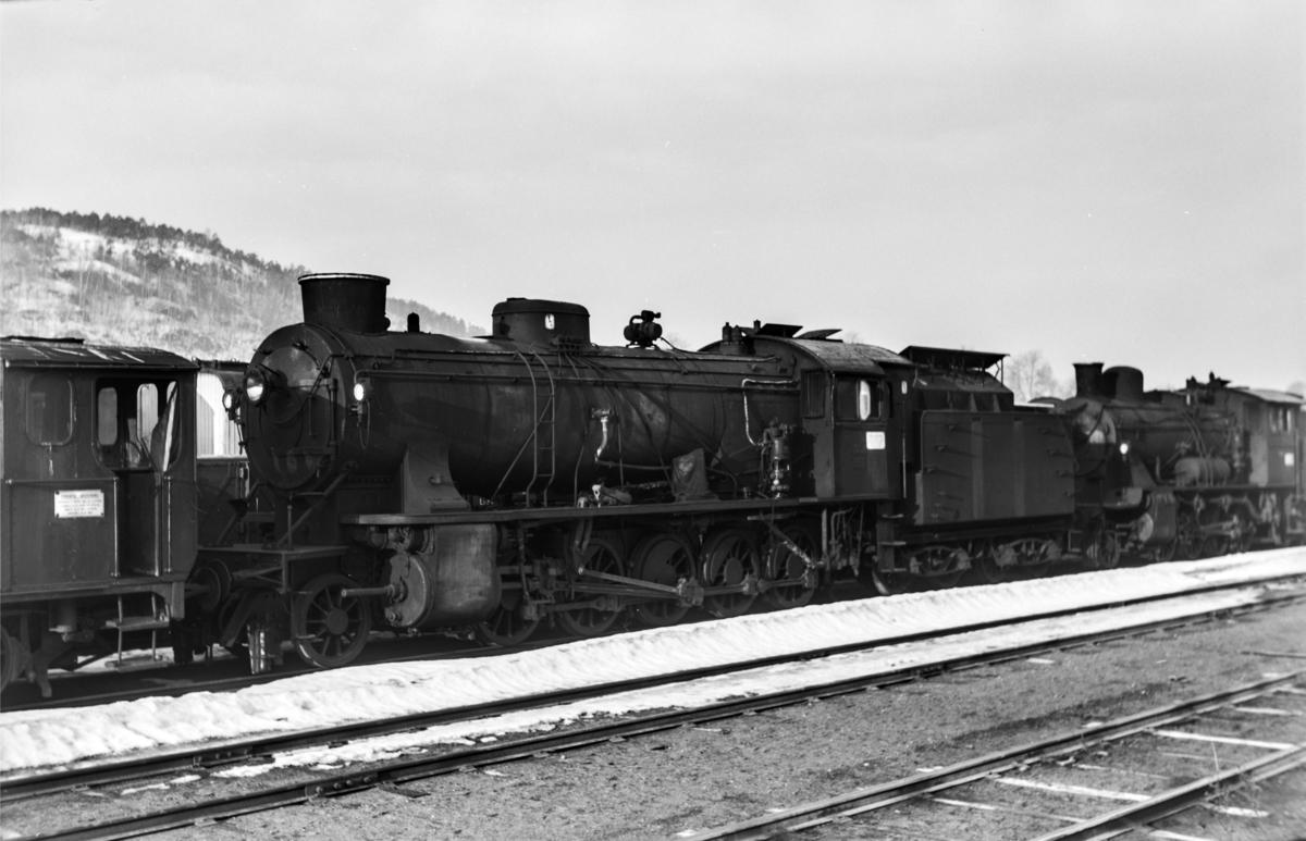 Hensatt damplokomotiv type 39a nr. 308 i Lodalen i Oslo.