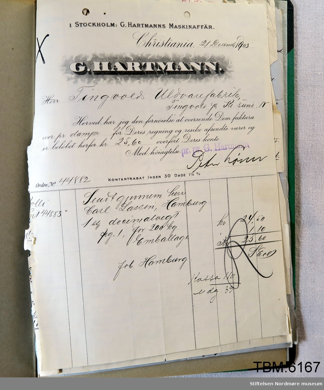 Protokoll, perm, som inneheld betalte rekningar for maskinar innkjøpte frå Tyskland.