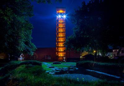 32 meter høyt tårn ved Olavs hall på Borgarsyssel museum.