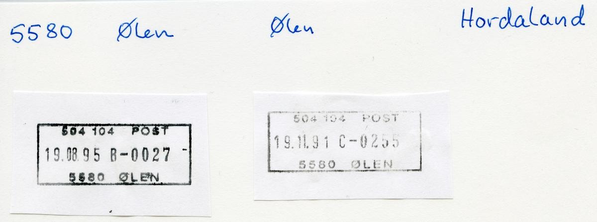 Stempelkatalog  5580 Ølen, Ølen kommune, Hordaland (Aaland)
