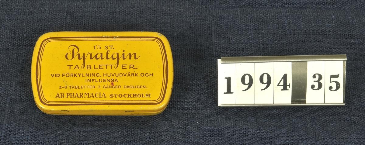 Vid förkylning, huvudvärk och influensa.  Tillverkare:AB PHARMACIA STOCKHOLM.