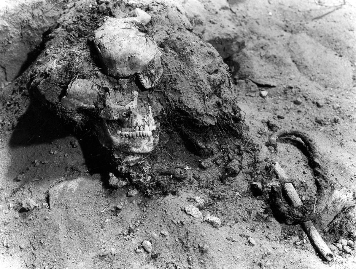Utgrävning av gravar i stadskyrkan i samband med renoveringen 1984-1985. Längs mittgången fanns en rad kallmurade stenkammargravar, använda fram till 1700-talets mitt. Kvinnoskelett. Observera nyckeln som har placerats under hakan.