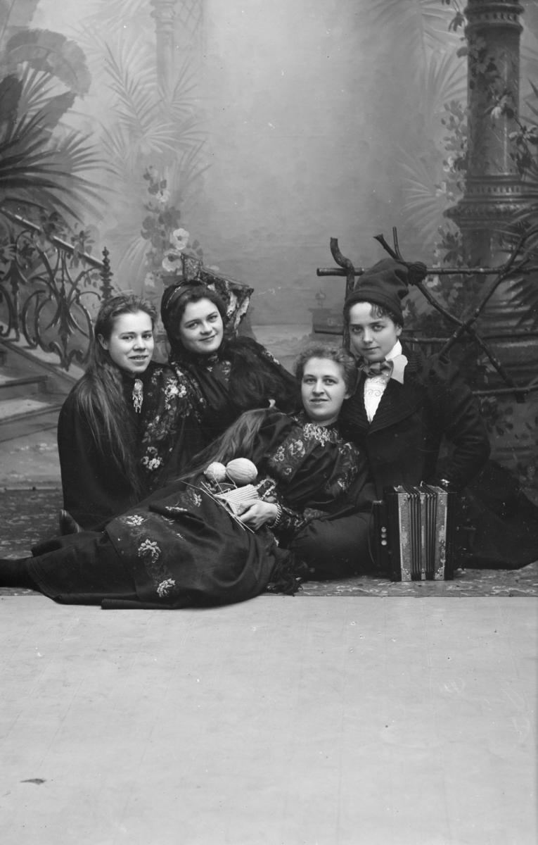 Gruppebilde, kvinner sitter på gulvet, fra venstre, frøken Detlov, frøken Bjerke, fru Brun og Bertelsen.