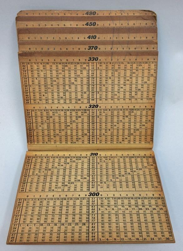 """Frakttabell, tryckt med svart text och siffror, samt rödbrun kant, på tunn gulnad kartong. Titel: """"Frakttabell för il- och fraktgods, 20 - 490 kg"""". Tabellen är inbunden med häftad rygg i beige klot (textil), och vänds på sidan så att man öppnar den neråt. Tabellen är utformad som trappsteg, med de lägre vikterna nederst. På framsidan finns tryckta anvisningar som fortsätter på tabellens baksida, där det dessutom finns reklam för en patenterad sparkstöttingbroms som ser ut att vara konstruerad av samma person, Förste stationsskrivare Henrik Schröder i Arvika.  Utan proveniens."""