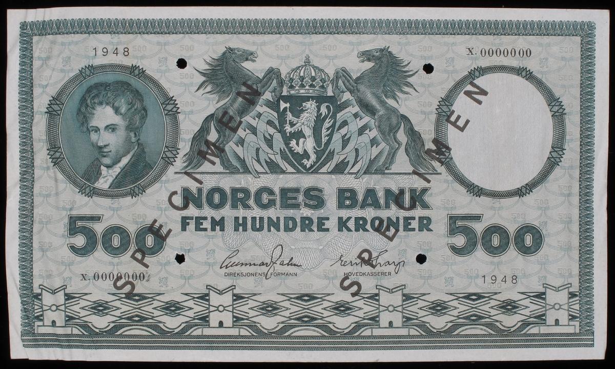Norsk seddel pålydende kr. 500,-