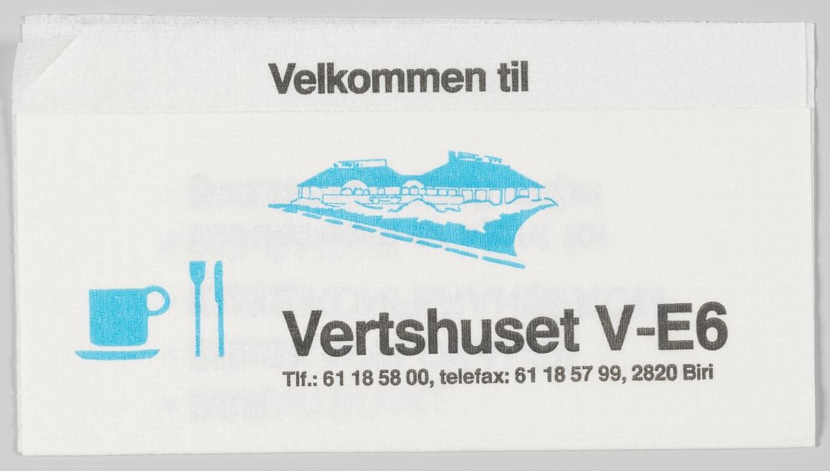 En tegning av bygningene, en kopp, kniv og gaffel og et veikart og en reklametekst for Vertshuset V-E6 på Biri.  Samme reklametekst på MIA.00007-004-0323.