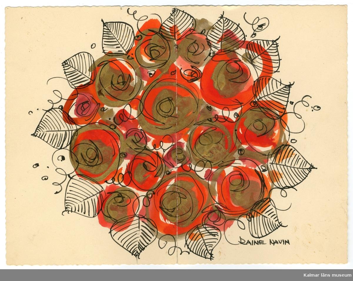 Konstkort med olika motiv, bland annat blommor, tomtar, tupp i olika färger.