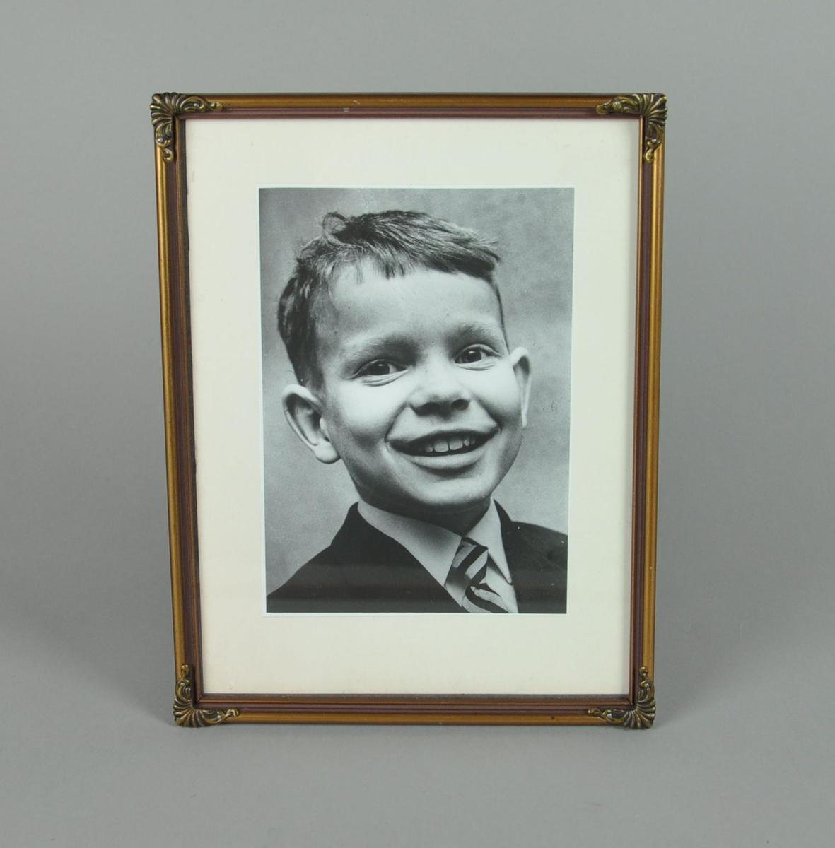 Stående foto i ramme, portrett av Dag Swanstrøm. Rammen er av metall og har palmetter i hjørnene.