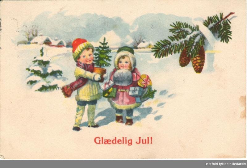 Små barn i snødektlandksap, grankvister med kongler
