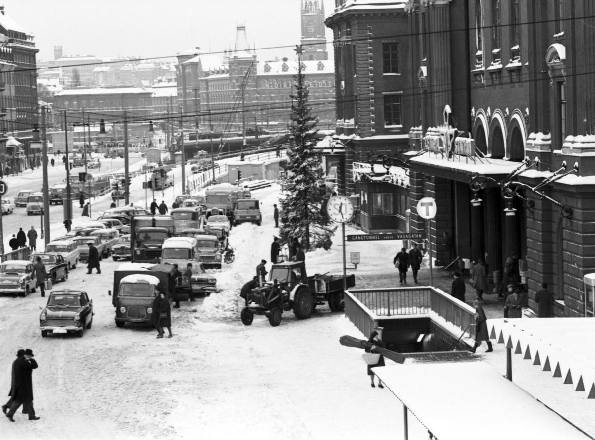 Jultrafiken utanför Stockholm Central.