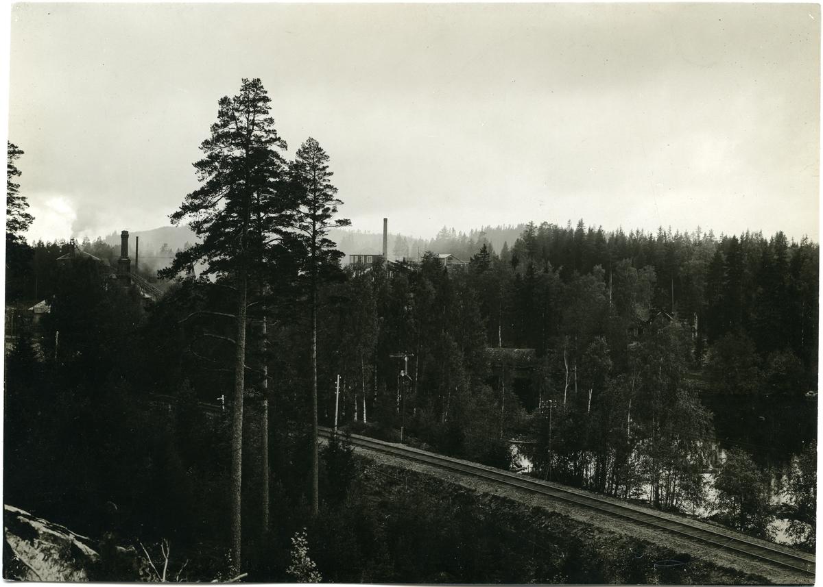 Järnväg untanför Sikfors med fabriksbyggnad i bakgrunden.