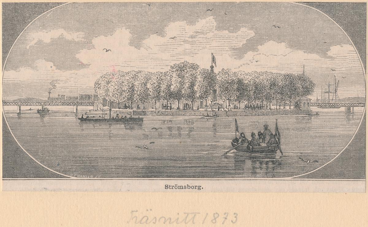 Träsnitt från 1873 Strömsborg på sträckan mellan Stockholm Central/Tegelbacken och Riddarholmen.