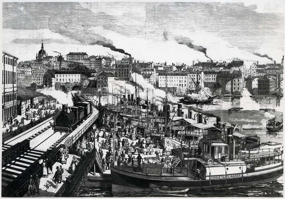 """Stockholmsbild: En förmiddag Vid Mälarhamnen. Teckning av G. Broling. Loket passerar på högbron det som tidigare kallades """"Kötttorget"""", på sträckan mellan (Södra) Mälarstrand och Riddarholmen."""