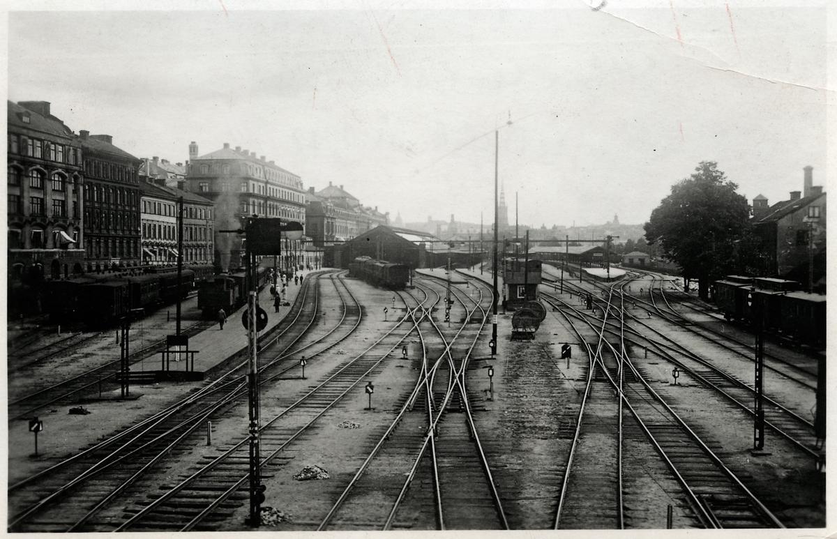 Stockholms Centralbangård. Lågtrafik år 1918.