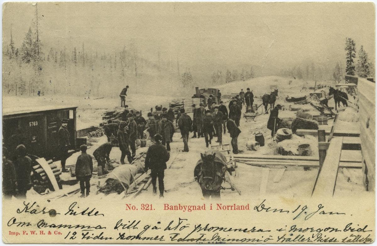 Uppbyggnad av Malmbanan. Byggen pågick under perioden 1898-1902. Allt arbete gjordes på den tiden för hand  och under mycket svåra förhållanden.