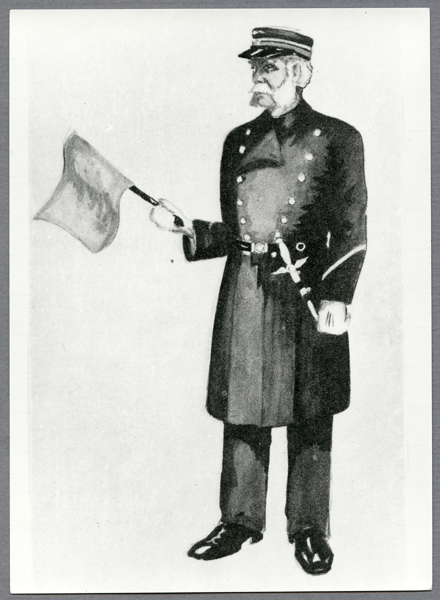 Stinsuniform, akvarell av G. Lundin.
