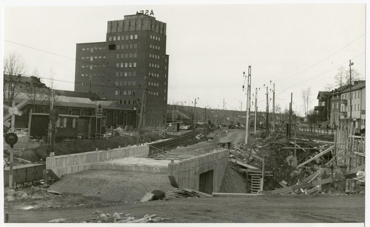 Byggnation av gångtunnel.