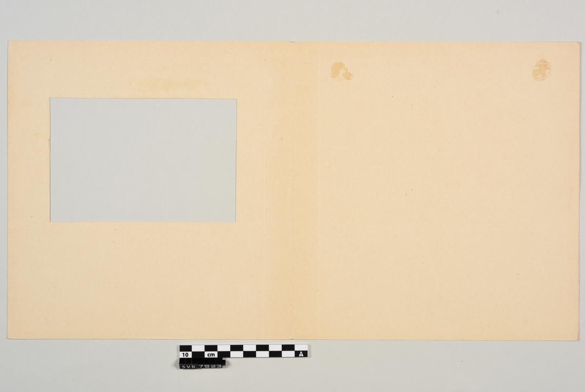 Maleri med transparente, vannoppløselige farger i passepartout. Bildet er malt på et rektangulært ark av tykkere papir, kartong. Motivet er innsiden av en hytte med to personer sittende rundt et bord og en person liggende i en seng. På baksiden er det skisser tegnet med blyant. Passepartouten er laget av et avlangt rektangulært ark som er brettet i midten. Arket er laget av tykkere papir, kartong. Den ene halvdelen er tilskåret slik at det er en kvadratisk lysåpning i midten. På innsiden under lysåpningen er det håndskreven tekst og tall med blyant og blekk under lysåpningen på passepartouten. Passepartouten er trolig brettet feil vei. Akvarellen er festet på innsiden med lim til den andre halvdelen.