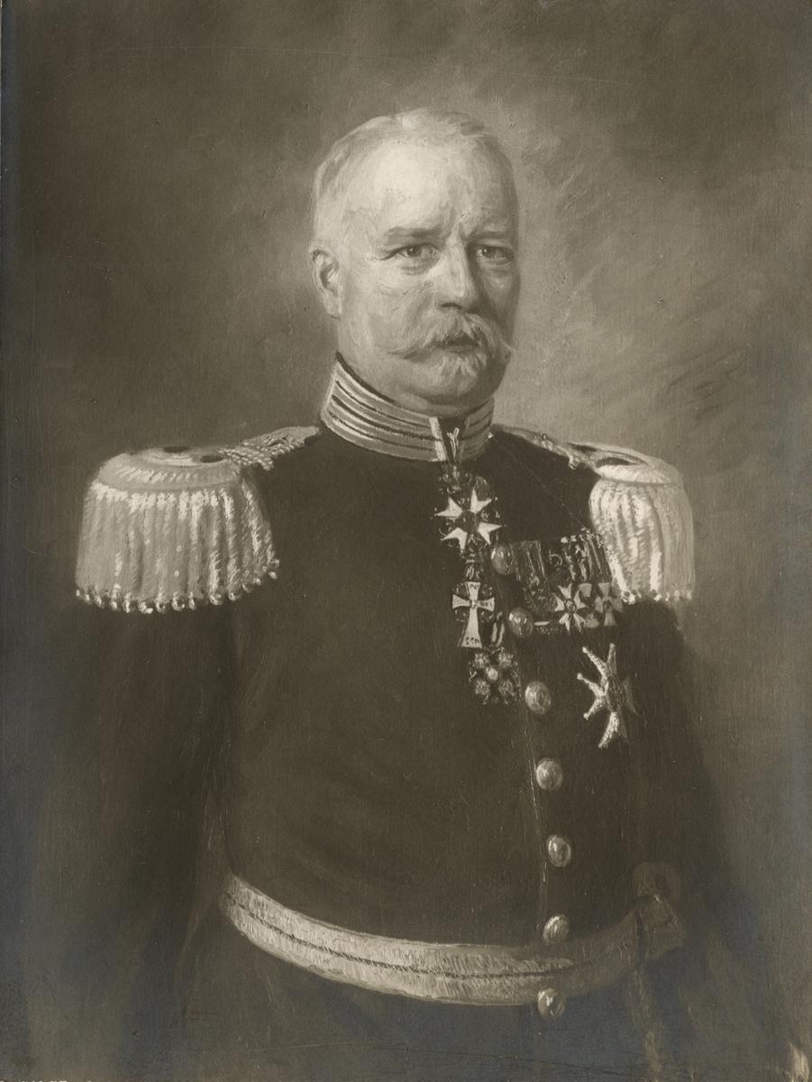 Kungliga andra livgrenadjärregementets regementschefsporträtt.