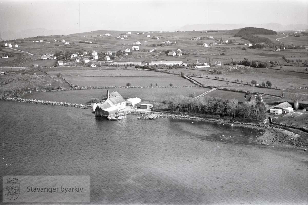 Stavanger ytre. Tasta. Mot S.Ø...Kommedal Packing Co. ved Dusavika. Dusavik til venstre.