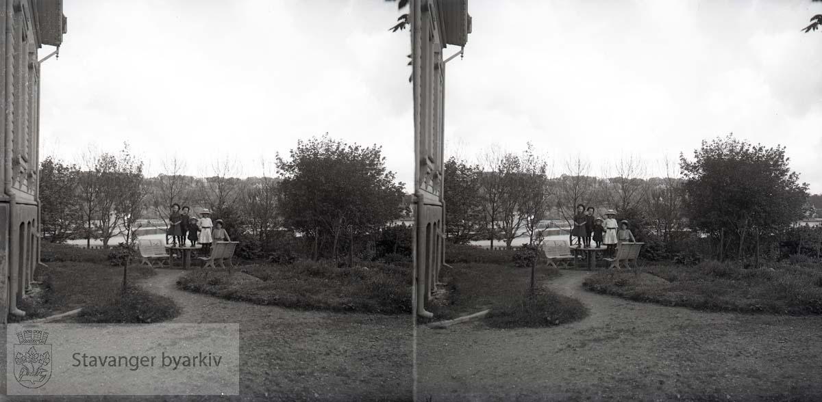 Stereofotografi...Barna til Eckhoff i hagen.