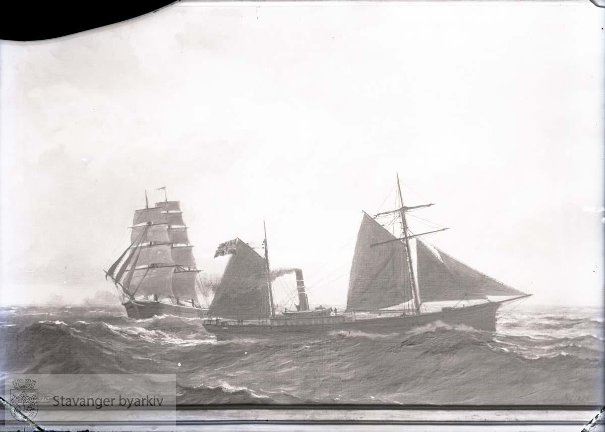 Seilskute og dampbåt