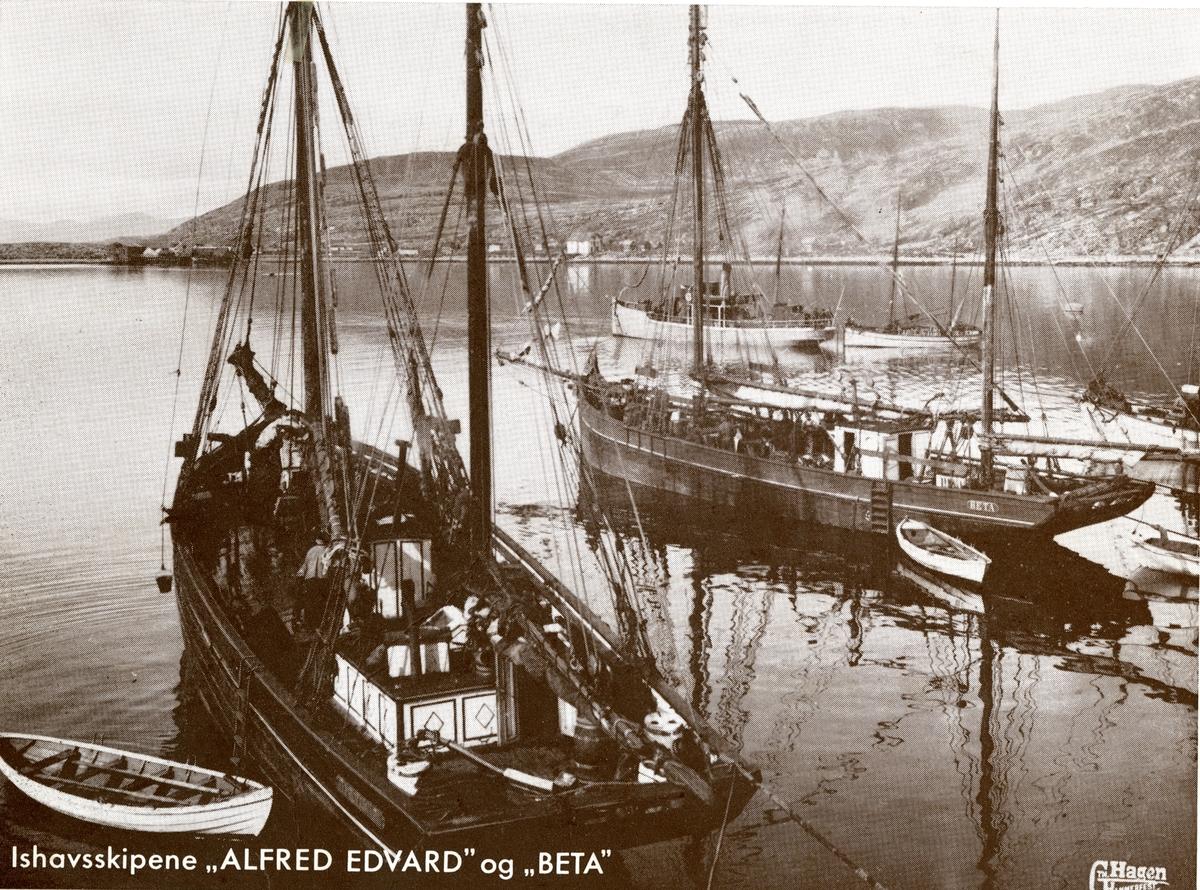 Kutter 'Alfred Edward' (b.1879, Hammerfest, Norge) og kutter 'Beta' (b.1880, Kristiansund, Norge)