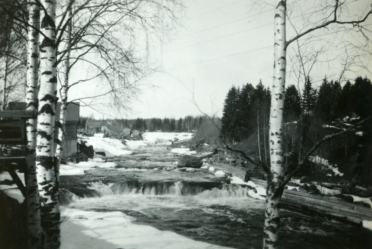 Ett vattendrag strömmar fram i ett vårvinterlandskap i Alfta.