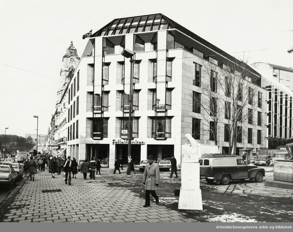 Grand Hotell. Nybygget mot Arbeidergata. Mars 1976