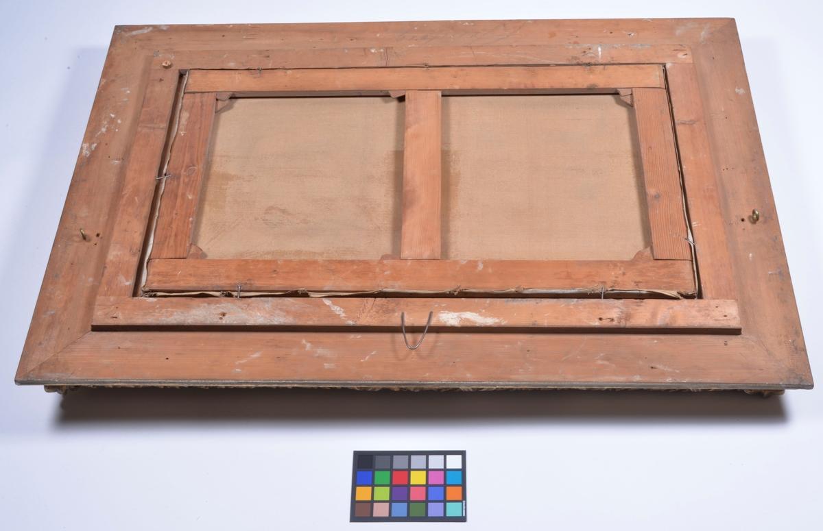 Storlek: 137,5 x 97,5 cm (yttermått med ram)                 99,0 x 59,0 cm (bildyta) Montering / Ram: Förgylld träram