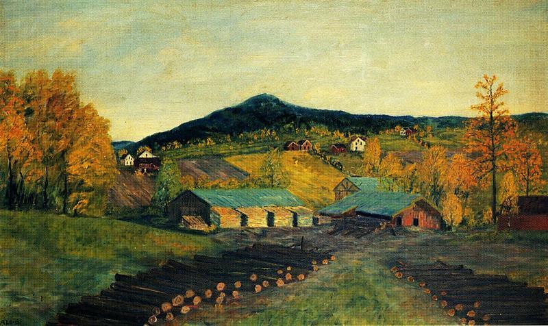 Tømmervelta med Sem sag. Maleri av Albert Seheim, 1953. (Foto/Photo)