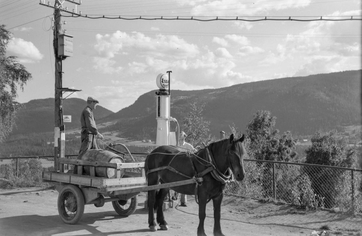 Per Midtvold med hest og vogn henter bensin på Wold-butikken