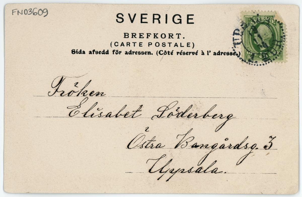 Brevkort - Östra Bangårdsgatan, nuvarande del av Norrtäljegatan, Uppsala 1900-tal