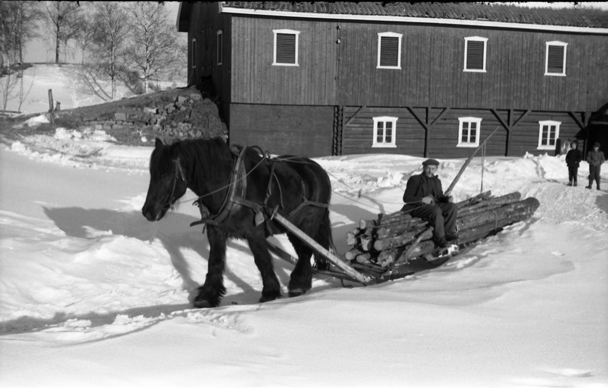 Hest trekker rustning lastet med ved/tømmer. Seks bilder fra gården Gile i Østre Toten, mars 1958. Mannen som sitter på lasset er ikke identifisert.