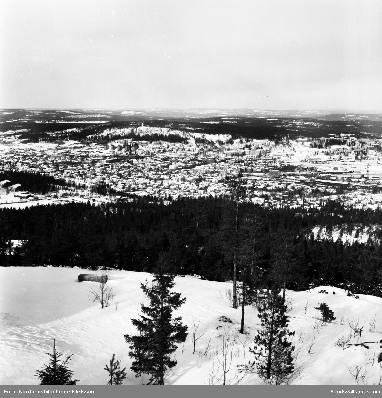 Vintervy från Södra berget över Sundsvall.