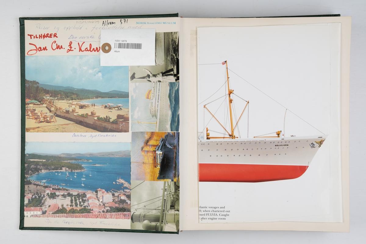 Album med fotografier fra reiser og cruise med 'Bergensfjord' og 'Vistafjord', og fra dåp og overtakelse av 'Tanafjord', samt fotografier av 'Oslofjord' og 'Bergensfjord'