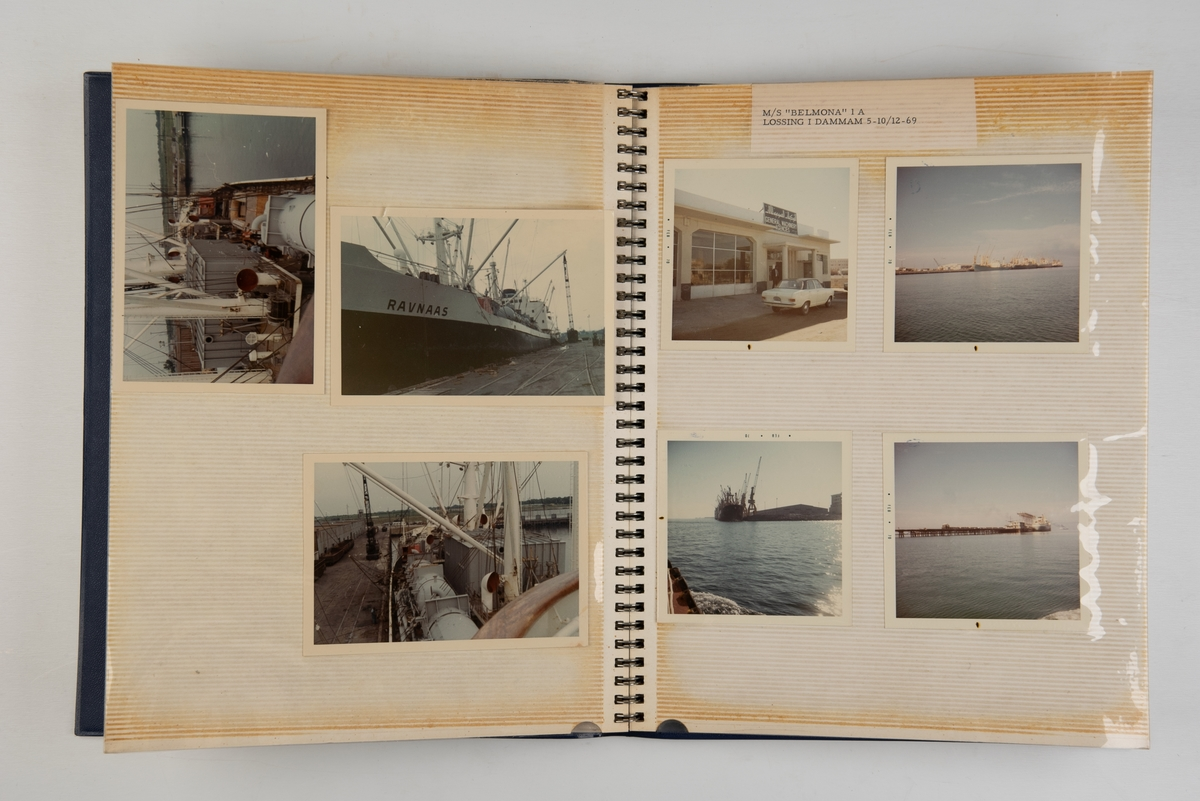 Album med fotografier av lasting og lossing på diverse skip fra Wilh. Wilhelmsen.