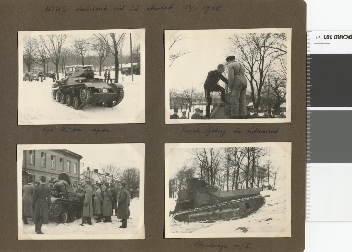 "Text i fotoalbum: ""AIHS studiebesök vid I 2 strdvbat (Göta livgardes stridvagnsbataljon) 19.1.1938. Överste Sjöberg är intresserad."""