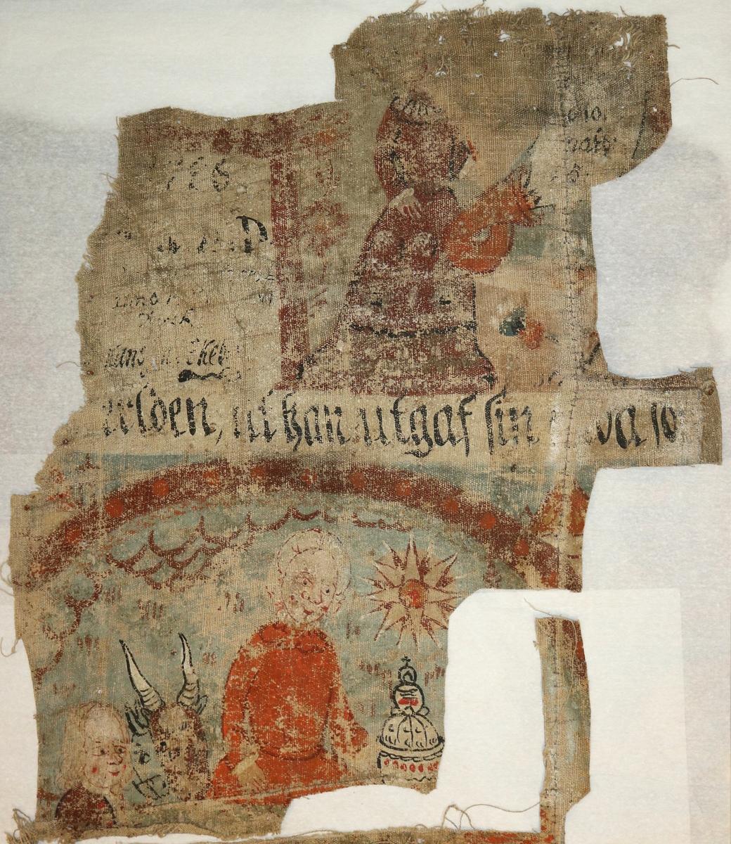 Två fragment av bonadsmålning målad i tempera på linneväv av Clemet Håkansson, Ekeberga, Urshult. Motiv av Jesu födelse inom arkad. Ovanför otydlig datering: 1786 (?). Består av två delar.  Inskrivet i huvudkatalogen 1950.