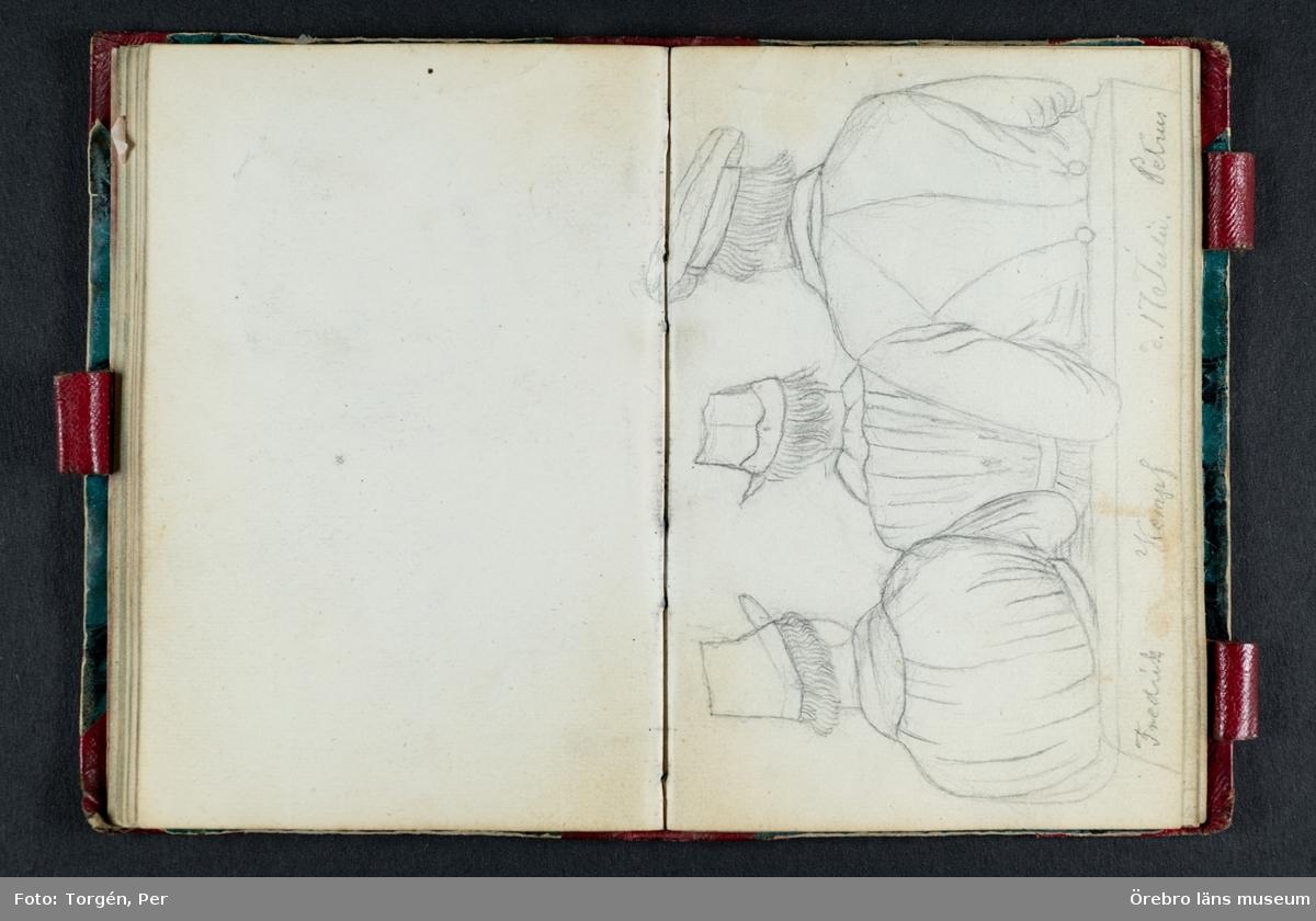 Skissbok med studieporträtt i blyerts av Wilhelmina Lagerholm (1826-1917).  Skisserna är förmodligen tecknade i Örebro under våren och sommaren 1850. I november samma år flyttade Wilhelmina Lagerholm till Stockholm för att studera teckningskonst och måleri. Några av bilderna är daterade och flera har namn på den avporträtterade. De föreställer släktingar, familjemedlemmar samt vänner och bekanta i Örebro.