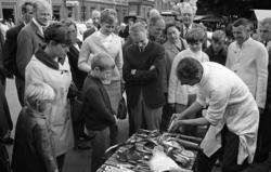 Höstmarknad på Järntorget. En försäljare demonstrerar sin pr