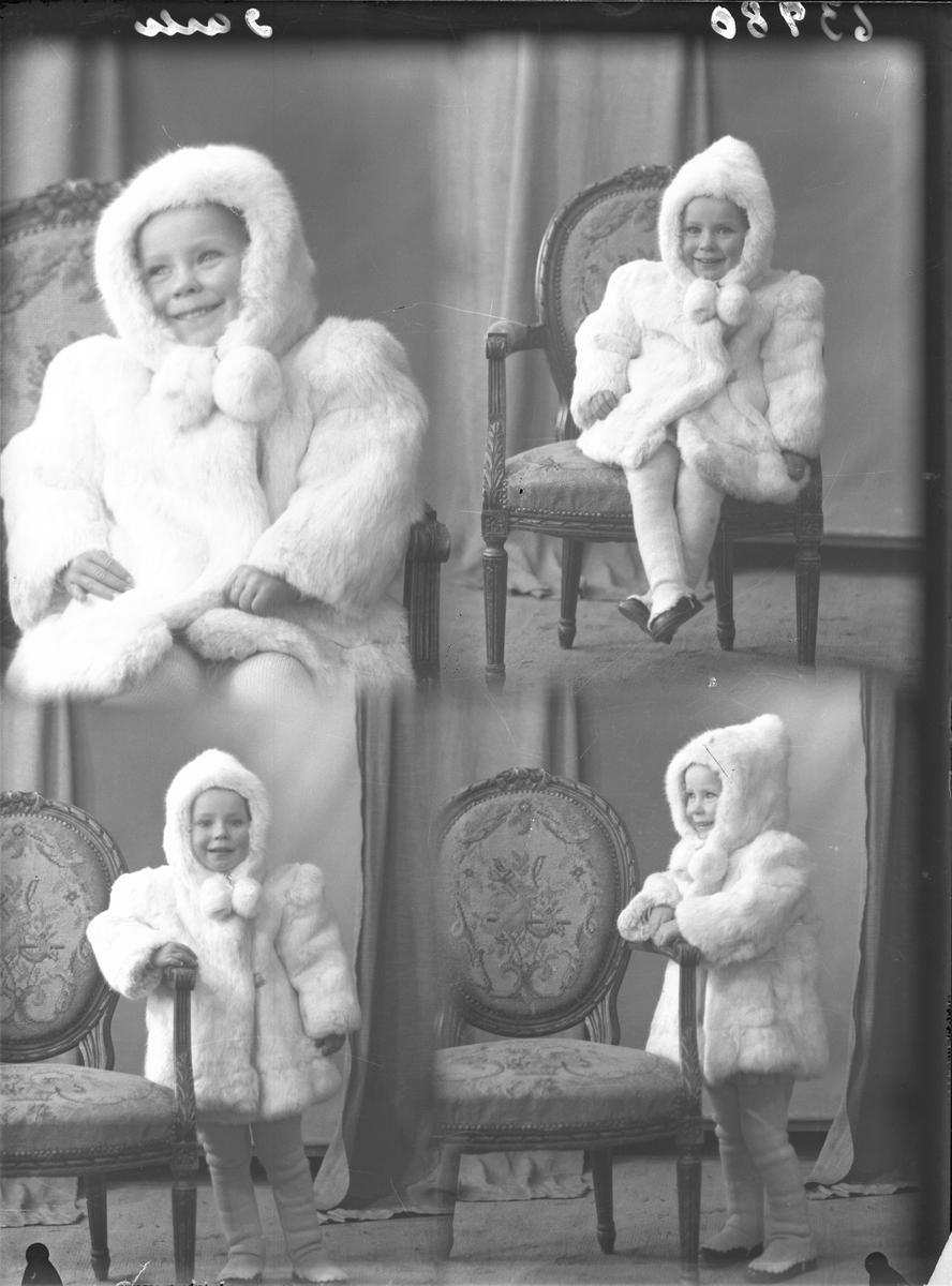 Portrett. Ung mørkhåret kvinne i mørk kjole med store knapper og en liten lyshåret pike i kort lyst folleskjørt og stripet genser. Fire foto med piken ikledd hvit vinterjakke/pels med hette og lyd strømpebukse. Mor og datter. Bestillt av Bjørg Havnerås