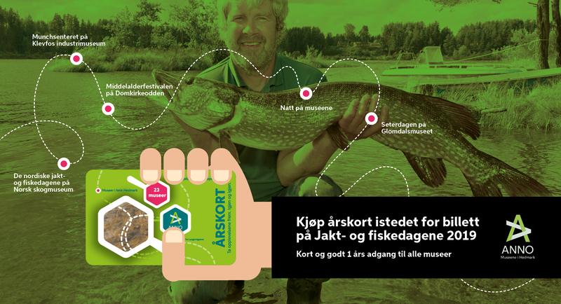 Webbanner med informasjon om at man kan kjøpe årskort i stedet for billett til jakt- og fiskedagene. Bakgrunnsbilde av Kjetil Rukan med ens tor gjedde. (Foto/Photo)