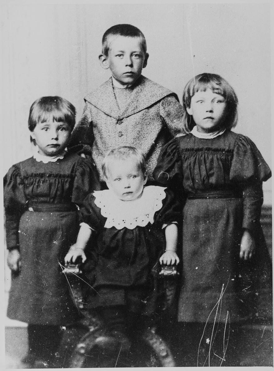 Noen av barna til ekteparet Johannes Pedersen (Tjervald) og Ane Olsdatter Eikeland