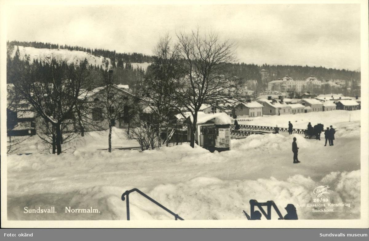 Vykort över Norrmalm och Storbron i Sundsvall.