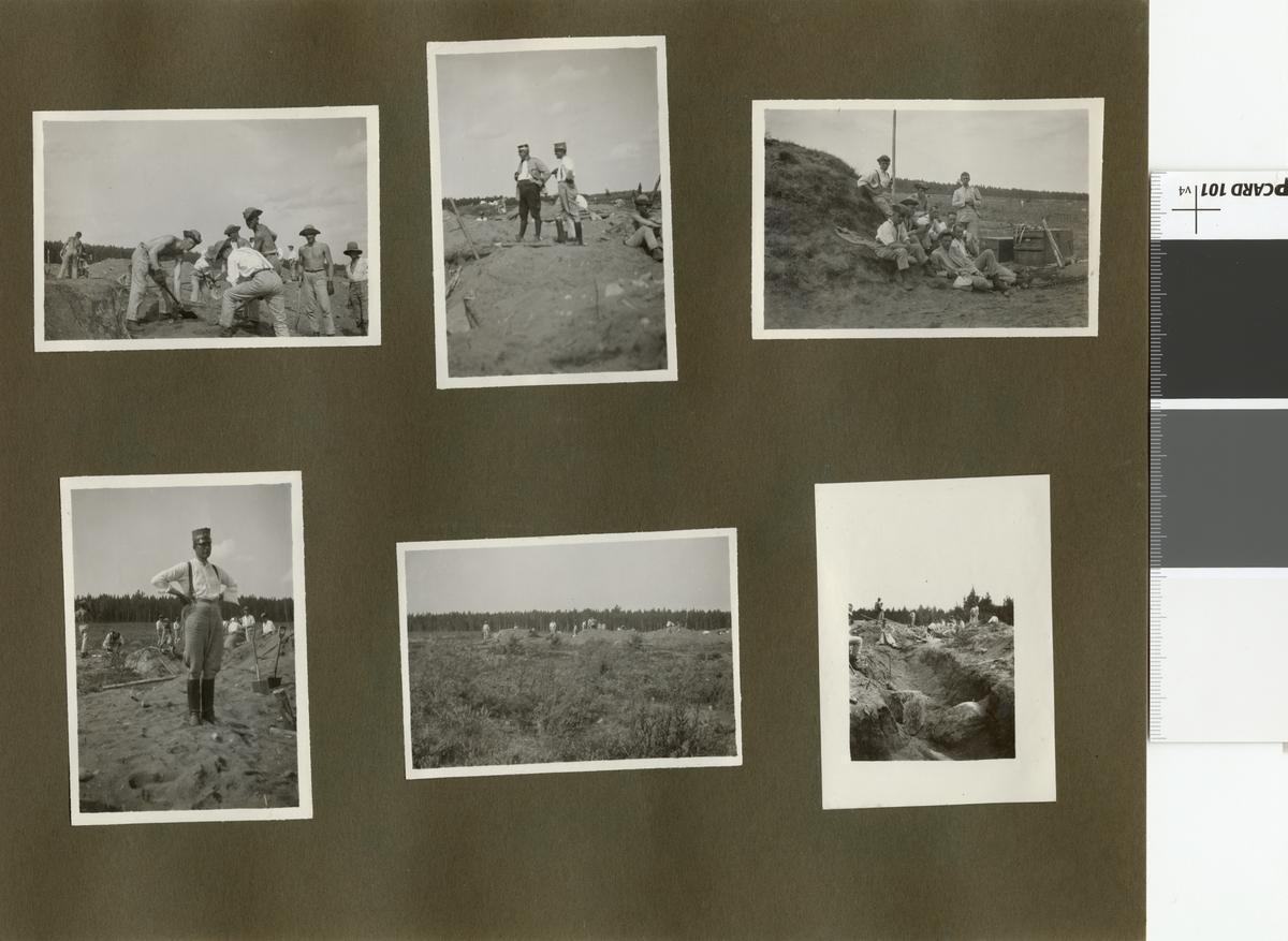 Elever vid Krigsskolan Karlberg har paus i arbetet med att gräva skyttegravar.