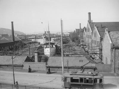 Trondhjems Mekaniske Verksted, TMV, sett fra Innherredsveien 1910-1915