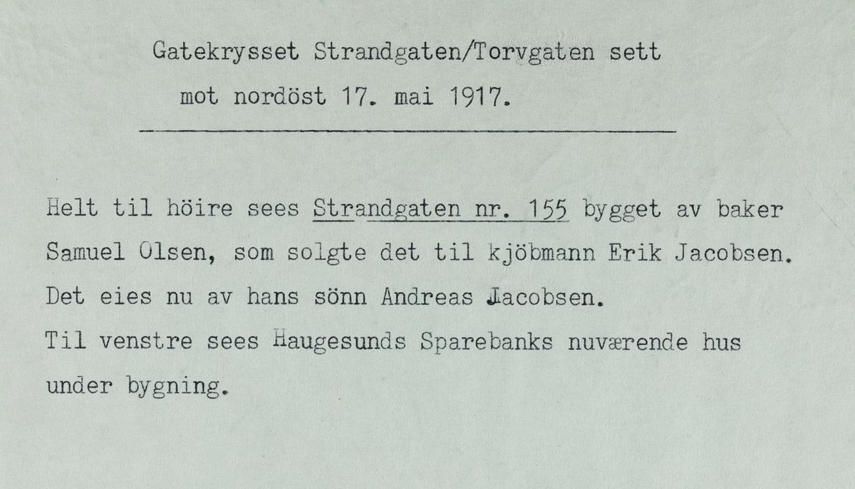 Gatekrysset Strandgata/Torggata sett mot nordøst, 17. mai 1917.